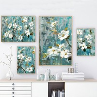 SURE LIFE Apple White Flower Pictures Wall Art Paintings On Canvas Posters and Prints POP For Living Dining Room Home Decoration
