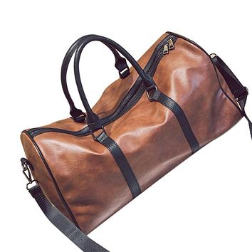 Leather Outdoor Large Gym Duffel Bag Travel Weekend Overnight Luggage Carry Bag Brown(Pu Leatther)