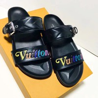 LV 2019 new multicolored Vuitton logo wave pattern sandals
