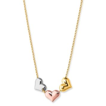 """14K Tri Color Gold Puffy Hearts Charms Necklace, 17"""""""