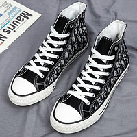 Dior New High Top Canvas Shoes Trendy All-match Student Tide Shoes Casual Cloth Shoes Boys And Girls Street Style Board Shoes-1
