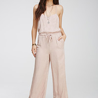 Tonal Feather-Patterned Cami Jumpsuit