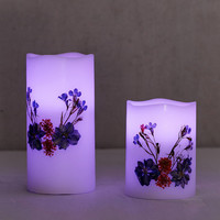 Pressed Flower Flameless Color Candle Set | Urban Outfitters