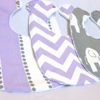 Baby Bib Set - Modern Baby Bib Set - Grey and Lavender Elephant Bib Set- Chevron & Lulu Stripe -White Minky Fabric - Handmade Baby