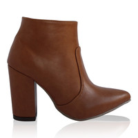 """""""Brittany"""" Chunky Heel Pointy Toe Booties - Cognac"""