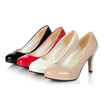 Fashion solid color women's pattern leather high heeled shoes