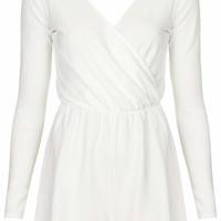 **Cream Wrap Front Playsuit by Oh M...