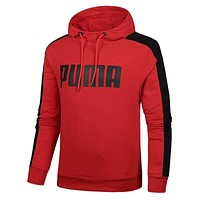 PUMA New Popular Men Loose Print Long Sleeve Hooded Sweater Top Sweatshirt Red