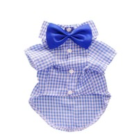 Fitwarm® Casual Plaid Dog Shirt Western Dog T-Shirt Dog Clothes + Dog Wedding Bow, Blue, Medium
