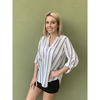 Business Casual Top- Lavender/ Ivory