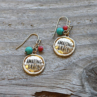 "Engraved ""Amazing Grace"" Drop Earring"