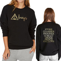 Always Front and Harry Potter Book Titles Back Sweatshirt Fashion Gold-Color Print Crew Neck Hoodies Women Black Pullover