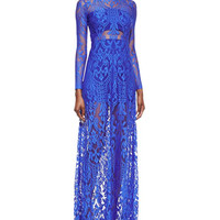 Marisol Sheer Lace Long-Sleeve Gown