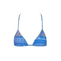 Slide Halter Triangle Bikini Top - Blue Moon Abstract Print