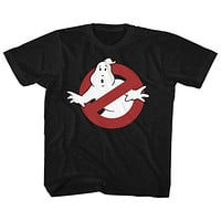 The Real Ghostbusters Kids T-Shirt No Ghost Sign Black Tee