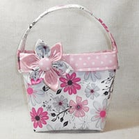Pink and Gray Floral Little Girls Purse With Detachable Fabric Flower Pin