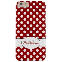 Trendy Vintage Dark Red and White polka dots Monogram iPhone 6 Plus case by PLdesign