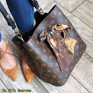 LV Louis Vuitton Classic Women Leather Bucket Bag Shoulder Bag Crossbody Satchel(No Silk Scarves)
