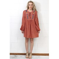 Tassels + Embroidery Long Sleeve Dress {Clay} - Size LARGE