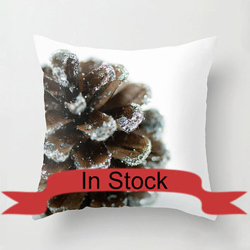 """Brown 14"""" Christmas Pillow Cover Decorative Throw Cushion Cover Holiday Pine Cone White Brown Festive Decor Handmade Cotton Zippered Cover"""