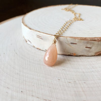 Micro-Faceted Light Peach Moonstone Briolette Pendant in 14k Gold Fill, Dainty Necklace, Layering Necklace, Tiny Peach Gemstone, Gift