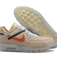 "[Free Shipping ]OFF WHITE x Nike Air Max 90 ""Desert Ore""OW AA7293 200 Basketball Shoes"