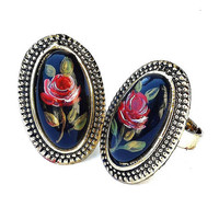 Vintage Style Red Rose Black Ring Romantic Victorian Boho Chic Jewelry FREE SHIPPING