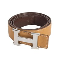 53262 auth HERMES natural tan & brown leather REVERISBLE H Buckle Belt Sz. 90