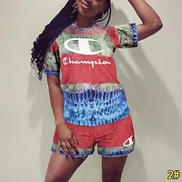 Champion Summer Fashion Woman Casual Print Short Sleeve Top Shorts Set Two Piece Sportswear 2#