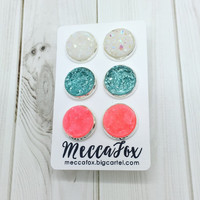 druzy earrings - set of 3