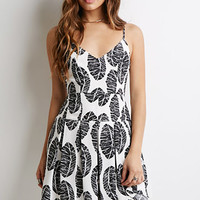 Pleated Frond Print Dress