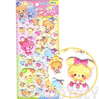 Adorable Teddy Bear and Bunnies with Bow Ties Animal Themed Puffy Stickers
