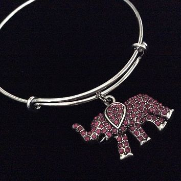 Lucky Crystal Elephant Charm Silver Adjustable Wire Bangle Bracelet Expandable Trendy Stacking