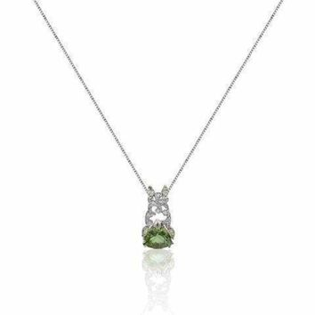 5 Ctw Trillion Cut Green Amethyst Pendant with Marquise and Round Diamonds with 14K White Gold by Luxinelle® Jewelry
