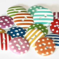 15 Polka Dot and Stripes Wooden Buttons15mm » Craftori