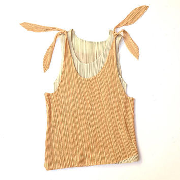 ISSEY MIYAKE!!! Vintage 1990s 'Issey Miyake -Pleats Please' double layer, pleated tank in cream and orange / Made in Japan