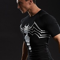 Cotton Lycra 3D Printed T-shirts Men Compression Shirt Raglan Short Sleeve Fitness Comics Clothing For Male For Tops