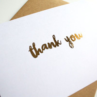 Thank You card - Thank You Merci Gold Foil