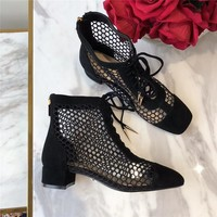 """""""DIOR NAUGHTILY-D"""" LACE-UP BOOT IN BLACK MESH"""