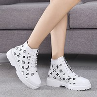 LV Trending Women's men Leather Side Zip Lace-up Ankle Boots Shoes High Boots