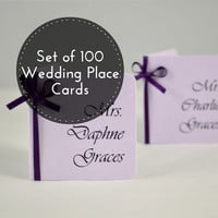 Wedding Seating Cards - 100 Wedding Place Cards - Purple Wedding Place Cards - Purple Escort Cards - Wedding name cards