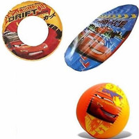 """Disney The Cars McQueen The Cars 20"""" Beach Ball,Swim Ring, and Surf Rider-New!"""