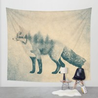 Fox and Forest - Shrinking Forest Wall Tapestry by Nirvana.K