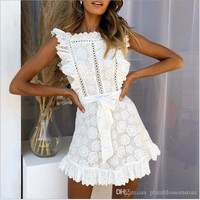 Boho embroidery white lace women mini Party Evening elegant dress Hollow out sashes ruffled holiday summer dress Casual sexy beach dress new