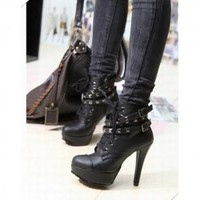 Casual and Stylish Style Buckle and Studs Embellished High-Heeled Boots For Female