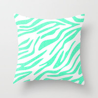 Mint Zebra Throw Pillow by MN Art