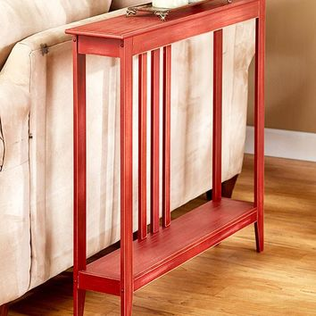Slim Space Saver Accent Table Wooden Narrow Hallway Entry Sofa Storage Black White Red