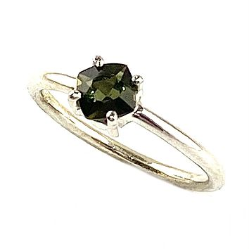 Faceted Moldavite Meteorite Sterling Silver Cushion Cut Ring