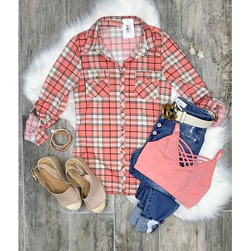 Penny Plaid Flannel Top - Ivory/Pink