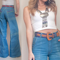 70s High Waisted Bell Bottom Jeans - Small XS 25 Waist | Womens Vintage Denim Bell Bottoms Wide Leg Flare Pants by Pentimento | 1960s 1970s